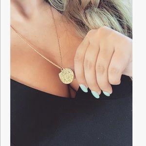 Sun sign coin necklace